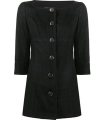 gianfranco ferré pre-owned 1990s scoop neck fitted jacket - black
