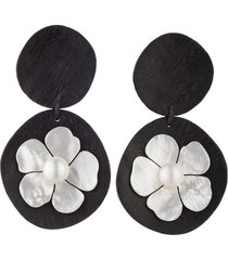 natori acacia wood drop clip earrings with mother of pearl, women's