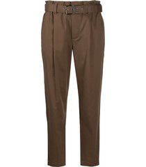 brunello cucinelli belted straight-leg trousers - brown