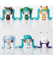 tgq anime 6pcs/set 5cm hatsune mikuu various styles mini action figure