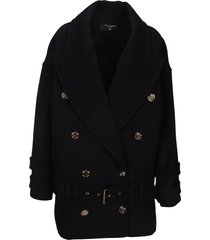 balmain wool and cashmere pea coat with double-breasted gold-tone buttoned fastening