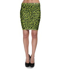 leopard print bright green bodycon skirt
