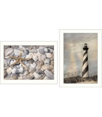 "trendy decor 4u cape hatteras lighthouse and sea shells collection by lori deiter, printed wall art, ready to hang, white frame, 20"" x 14"""