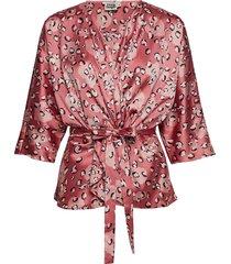 georgina blouse mini blus långärmad rosa twist & tango