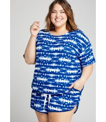 lane bryant women's french terry dolphin-hem sleep short 18/20 indigo tie dye