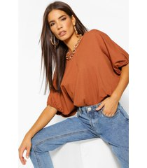 oversized puff ball crop top, tobacco