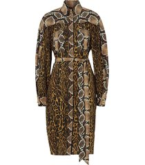 burberry animal print shirt dress - brown