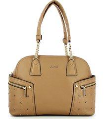 liu jo designer handbags, beige bowler bag w/chain handles