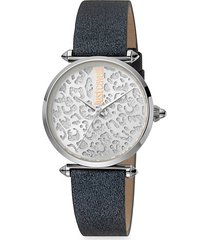 animal stainless steel leather-strap leopard-print watch