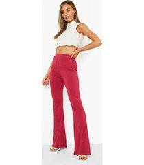 basic broek met hoge taille en wijde pijpen, berry