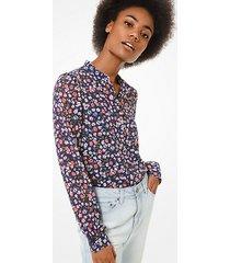 mk camicia in georgette con motivo floreale - coral peach - michael kors