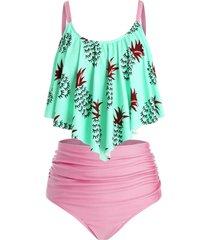 plus size pineapple ruched high rise tankini swimwear