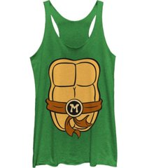 fifth sun teenage mutant ninja turtles women's michelangelo body tri-blend tank top