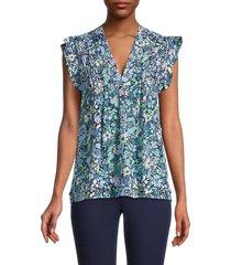 derek lam 10 crosby women's kona floral blouse - blue - size 2