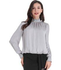 blusa escote cruzado espalda gris nicopoly