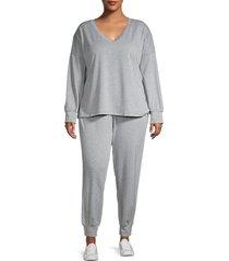 tiana b women's plus 2-piece v-neck sweatshirt & jogger pants set - grey - size 3x (22-24)