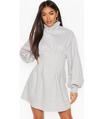 funnel neck balloon sleeve sweat dress, grey marl