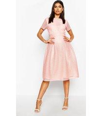 boutique full skirted prom midi dress, blush