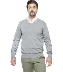 sweater cuello en v gris kostumo