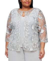 alex evenings plus size embroidered layered-look top