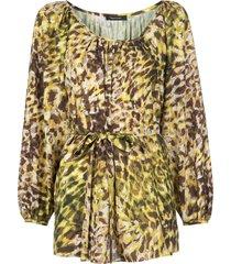 natori tie-waist leopard-print tunic - yellow