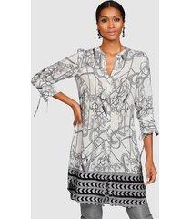blouse alba moda offwhite::grijs::zwart