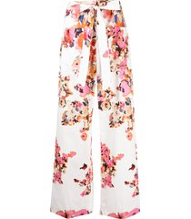 msgm tie-fastening floral-print trousers - white