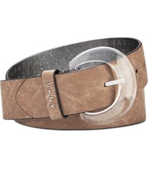 dkny crinkle-texture belt with lucite buckle