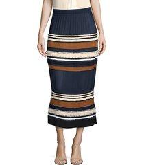 ribbed stripe midi skirt