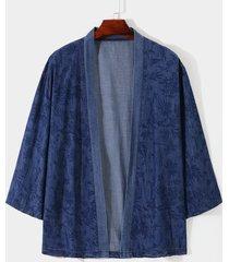 chaqueta de mezclilla con estampado floral informal para hombre