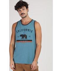 """regata masculina """"california"""" gola careca azul"""
