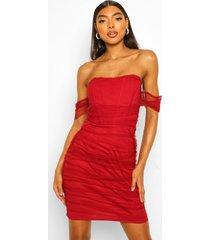 tall gerimpelde mini jurk met korset top, scarlet