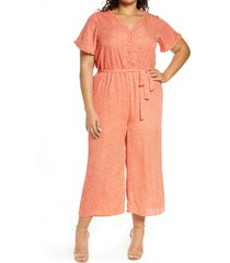 plus size women's bobeau sidd short sleeve wide leg crop jumpsuit, size 2x - orange