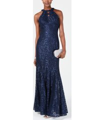 nightway lace keyhole-cutout gown