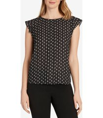 tahari asl cap-sleeve pleat-front blouse