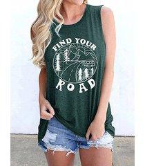 camiseta sin mangas con estampado de letras verdes cuello