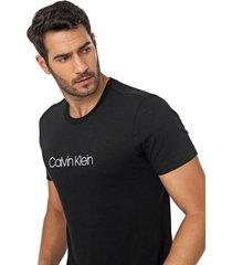 camiseta calvin klein lettering preta - preto - masculino - algodã£o - dafiti