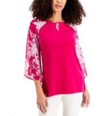 jm collection printed-sleeve top, created for macy's
