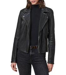 women's allsaints cargo leather biker jacket, size 0 - black