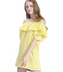 blusa larga vuelo escote amarillo nicopoly