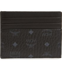 women's mcm visetos coated canvas card case - black