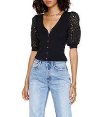 women's heartloom lucida short sleeve cardigan, size large - black