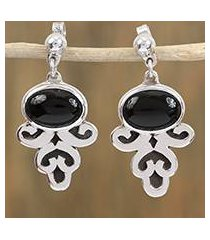 obsidian dangle earrings, 'sophisticated mystique' (mexico)