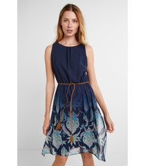 dress with side openings - blue - xs