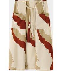 falda suelta anudada con bloques de color estilo artes marciales vendimia para hombre