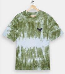 mens khaki tie dye butterfly print t-shirt