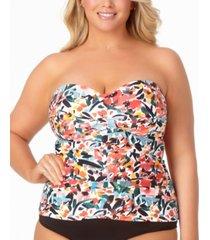 anne cole plus size sunset floral bandeau tankini top women's swimsuit