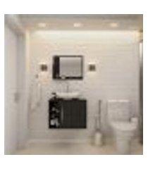 conjunto para banheiro gabinete com cuba folha l38 e espelheira soft 600 preto ônix