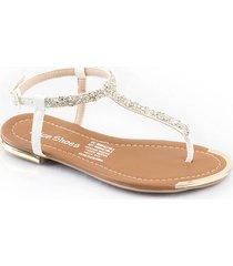 sandalia plana para dama blanca 482samaraplata