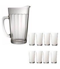 kit 1 jarra de vidro americano 1,2 litros e 8 copos de vidro sture móveis 387ml